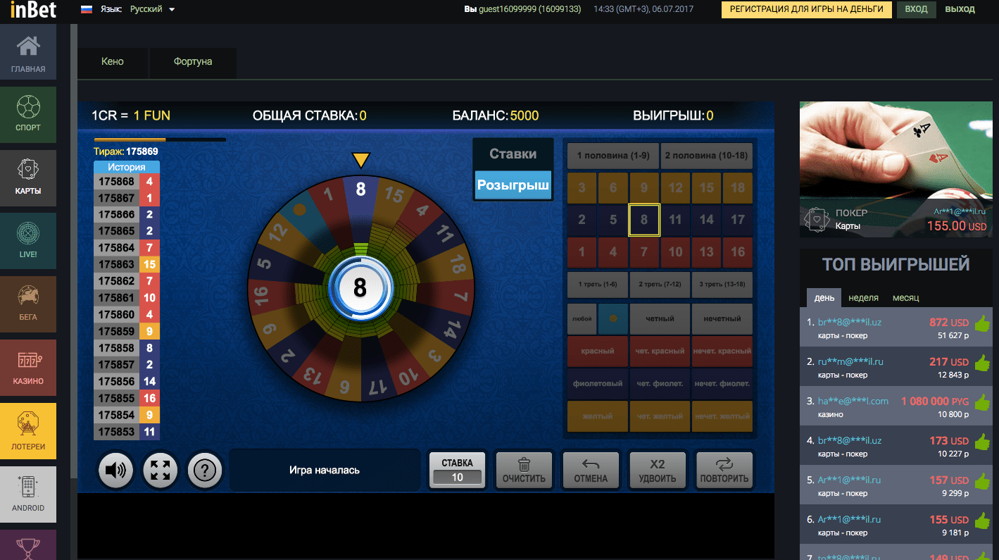 букмекерская лотерея инбет